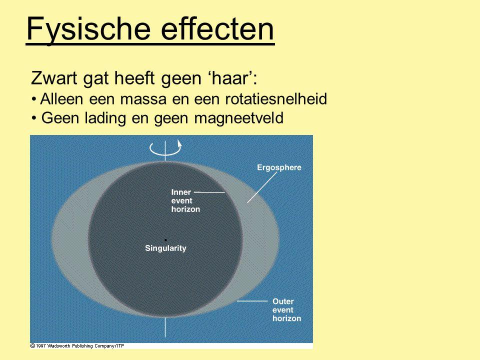Fysische effecten Zwart gat heeft geen 'haar': Alleen een massa en een rotatiesnelheid Geen lading en geen magneetveld
