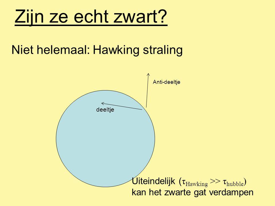 Zijn ze echt zwart? Niet helemaal: Hawking straling deeltje Anti-deeltje Uiteindelijk ( τ Hawking >> τ hubble ) kan het zwarte gat verdampen