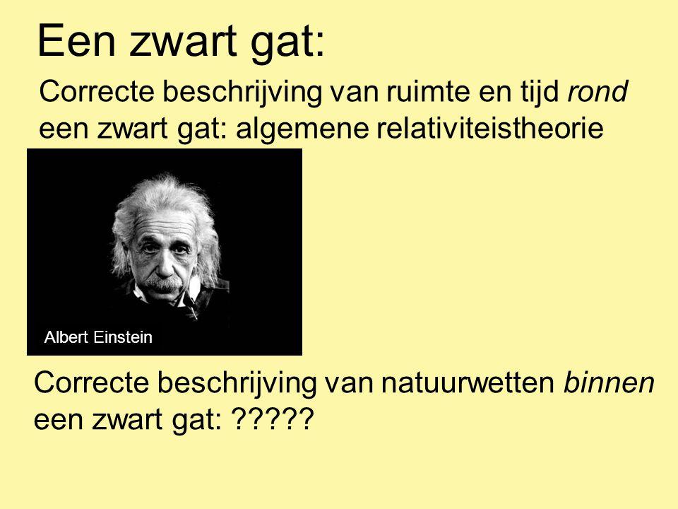 Een zwart gat: Correcte beschrijving van ruimte en tijd rond een zwart gat: algemene relativiteistheorie Correcte beschrijving van natuurwetten binnen