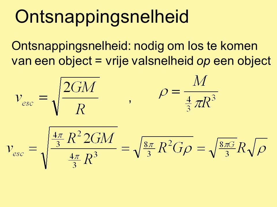 Ontsnappingsnelheid Ontsnappingsnelheid: een combinatie van de straal en de dichtheid van een object v esc (Aarde) = 11 km/s v esc (Zon) = 600 km/s v esc (NS) = 0.5 c