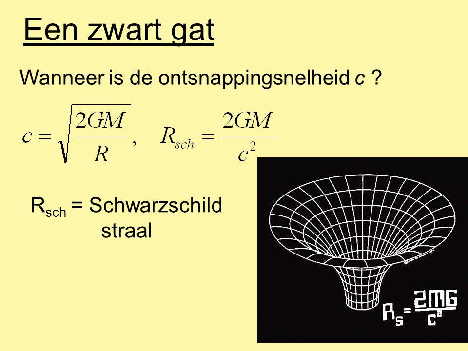 Een zwart gat Grootte van de Schwarzschild straal: Voor : M = 1 M zon : R sch = 3 km M = 1 M aarde : R sch = 9 mm M = 1 M mens : R sch ~ 1 x 10 -25 m