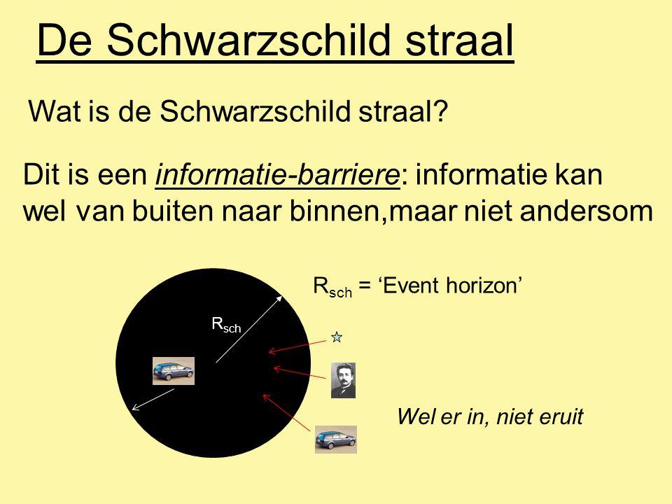 De Schwarzschild straal Wat is de Schwarzschild straal? Dit is een informatie-barriere: informatie kan wel van buiten naar binnen,maar niet andersom R