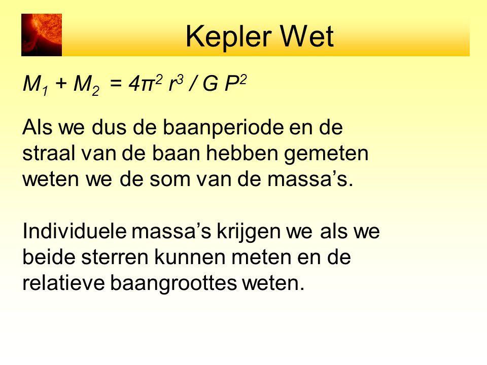 Kepler Wet M 1 + M 2 = 4π 2 r 3 / G P 2 Als we dus de baanperiode en de straal van de baan hebben gemeten weten we de som van de massa's.