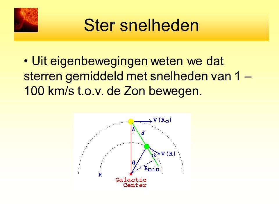 Ster snelheden Uit eigenbewegingen weten we dat sterren gemiddeld met snelheden van 1 – 100 km/s t.o.v.