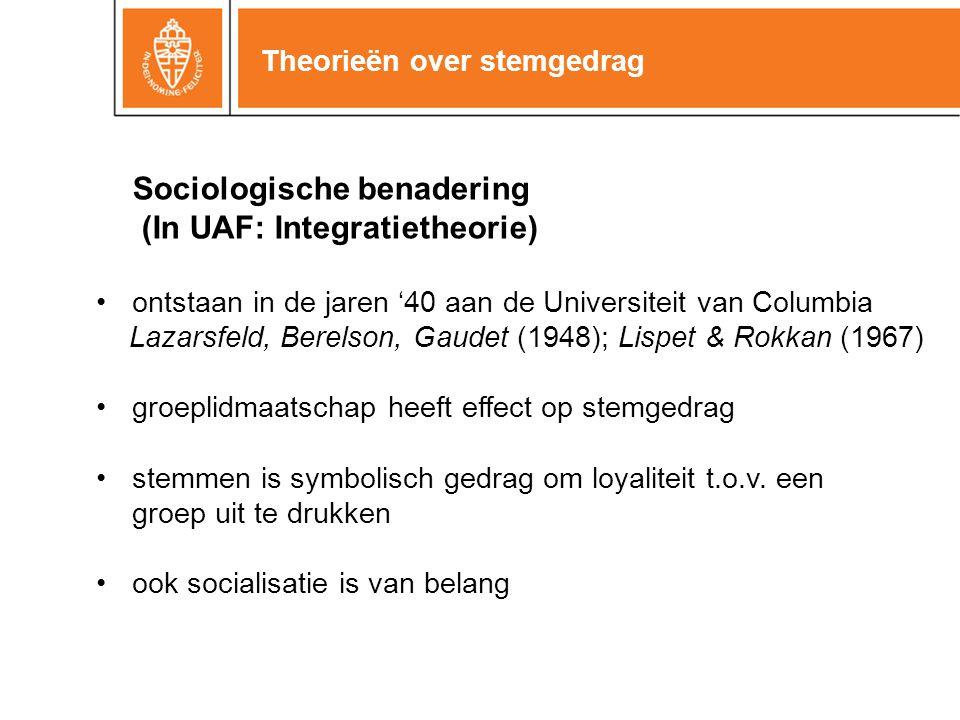 Theorieën over stemgedrag Sociologische benadering (In UAF: Integratietheorie) ontstaan in de jaren '40 aan de Universiteit van Columbia Lazarsfeld, B
