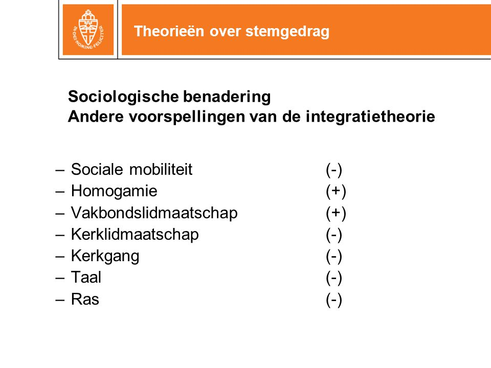 Theorieën over stemgedrag Sociologische benadering Andere voorspellingen van de integratietheorie –Sociale mobiliteit(-) –Homogamie(+) –Vakbondslidmaa