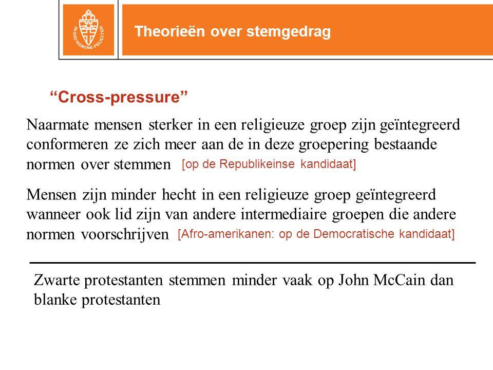 """Theorieën over stemgedrag """"Cross-pressure"""" Naarmate mensen sterker in een religieuze groep zijn geïntegreerd conformeren ze zich meer aan de in deze g"""