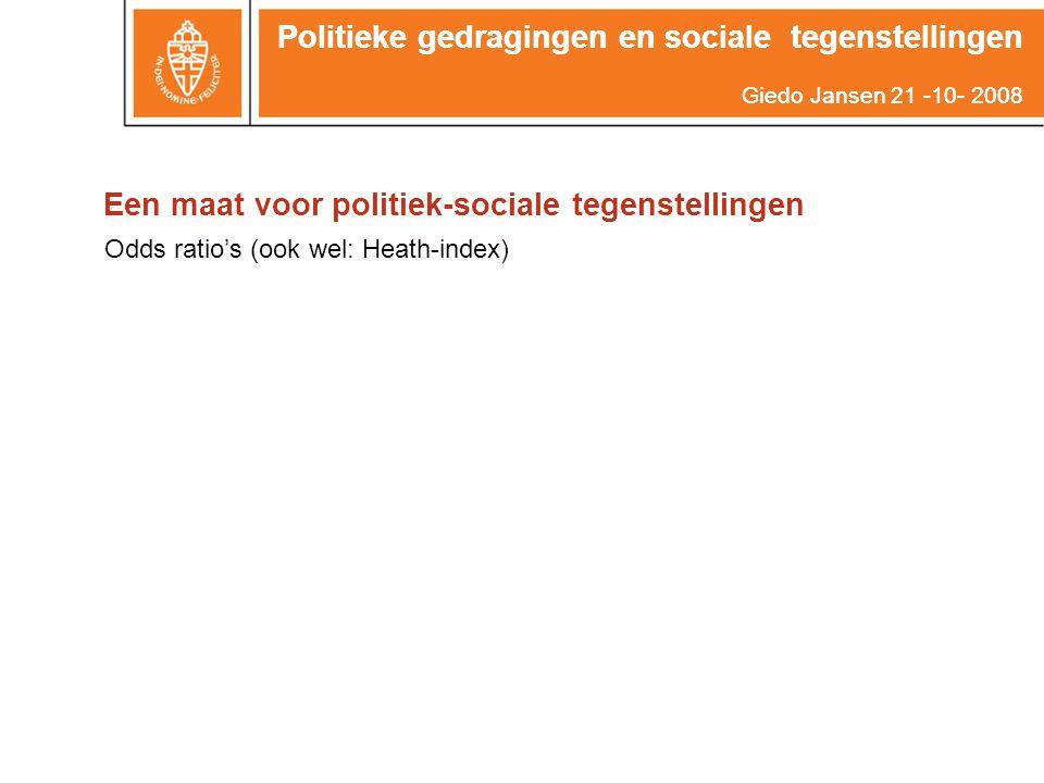 Politieke gedragingen en sociale tegenstellingen Giedo Jansen 21 -10- 2008 Een maat voor politiek-sociale tegenstellingen Politieke gedragingen en soc