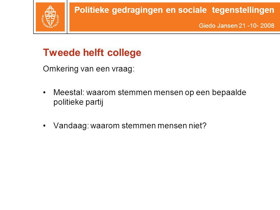 Tweede helft college Omkering van een vraag: Meestal: waarom stemmen mensen op een bepaalde politieke partij Vandaag: waarom stemmen mensen niet? Poli