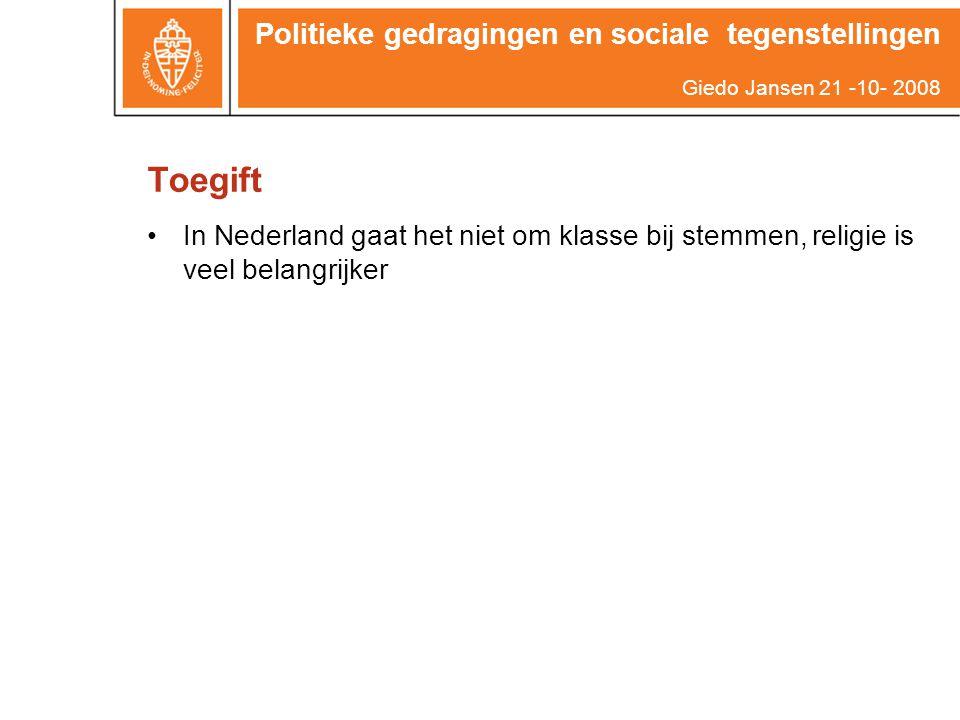 Toegift Politieke gedragingen en sociale tegenstellingen Giedo Jansen 21 -10- 2008 In Nederland gaat het niet om klasse bij stemmen, religie is veel b