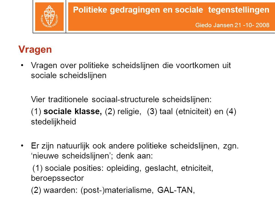 Vragen Politieke gedragingen en sociale tegenstellingen Giedo Jansen 21 -10- 2008 Vragen over politieke scheidslijnen die voortkomen uit sociale schei