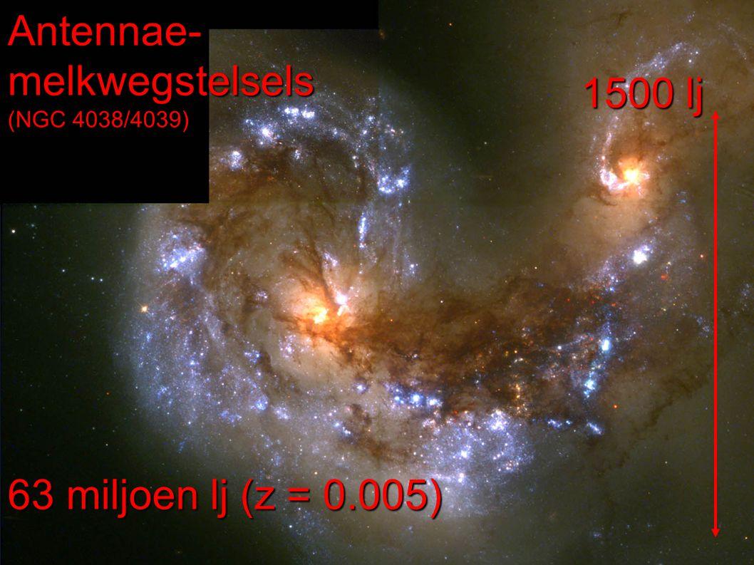 Antennae- melkwegstelsels (NGC 4038/4039) 63 miljoen lj (z = 0.005) 1500 lj