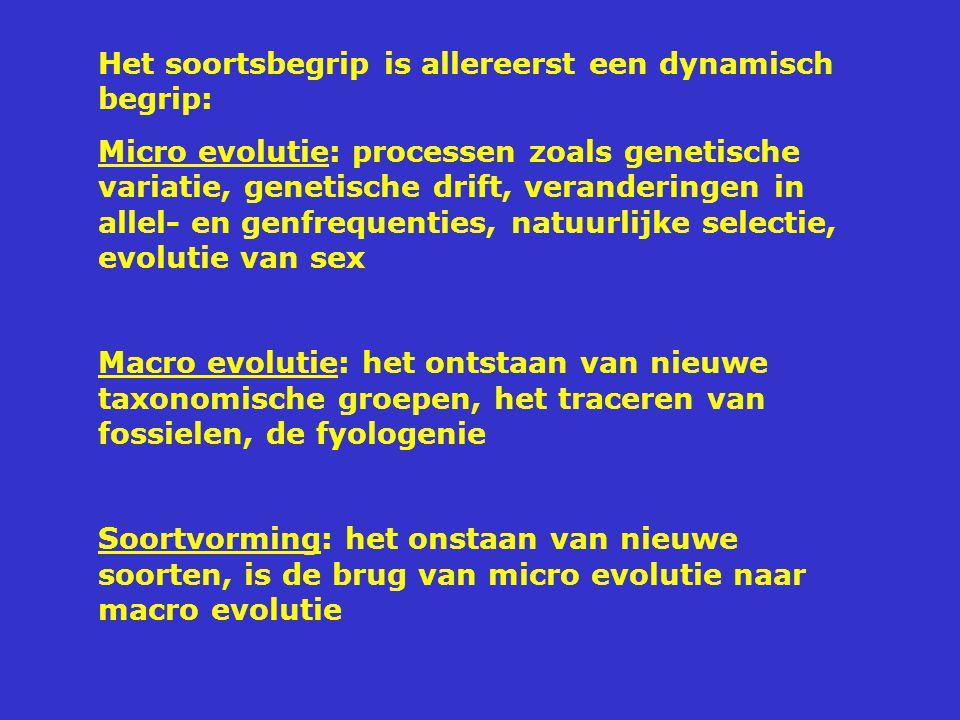 Het soortsbegrip is allereerst een dynamisch begrip: Micro evolutie: processen zoals genetische variatie, genetische drift, veranderingen in allel- en genfrequenties, natuurlijke selectie, evolutie van sex Macro evolutie: het ontstaan van nieuwe taxonomische groepen, het traceren van fossielen, de fyologenie Soortvorming: het onstaan van nieuwe soorten, is de brug van micro evolutie naar macro evolutie