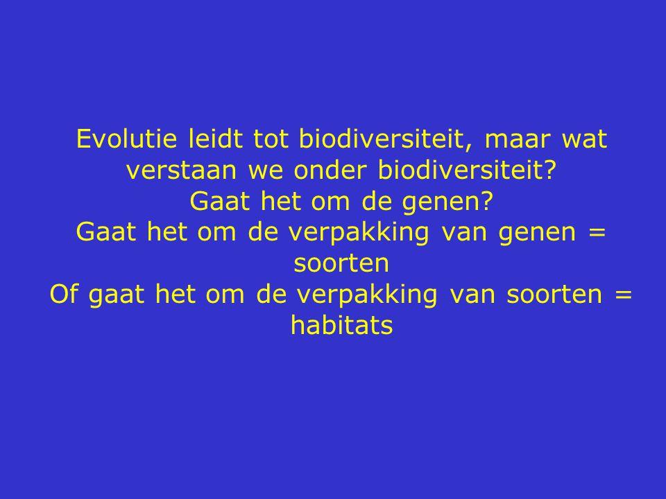 Evolutie leidt tot biodiversiteit, maar wat verstaan we onder biodiversiteit? Gaat het om de genen? Gaat het om de verpakking van genen = soorten Of g