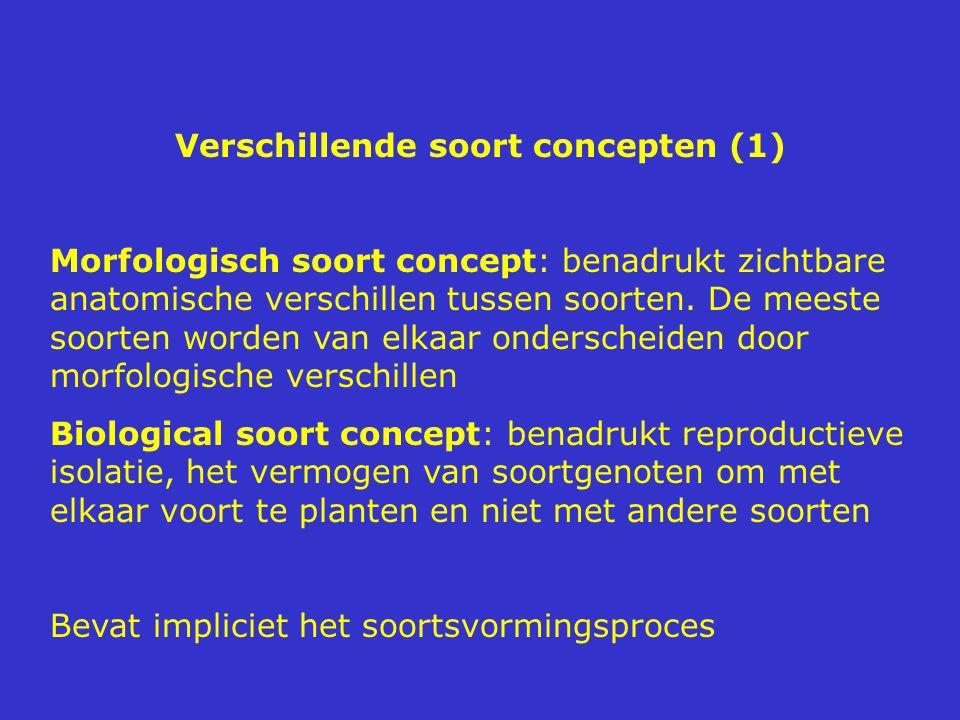 Verschillende soort concepten (1) Morfologisch soort concept: benadrukt zichtbare anatomische verschillen tussen soorten. De meeste soorten worden van
