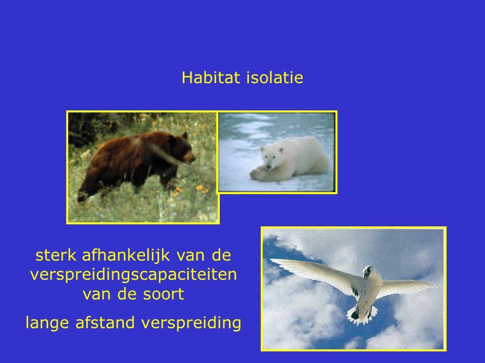 Habitat isolatie sterk afhankelijk van de verspreidingscapaciteiten van de soort lange afstand verspreiding