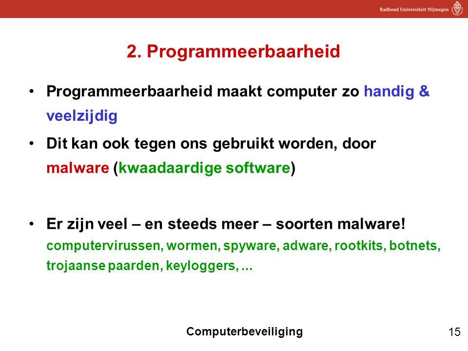 15 Computerbeveiliging 2. Programmeerbaarheid Programmeerbaarheid maakt computer zo handig & veelzijdig Dit kan ook tegen ons gebruikt worden, door ma