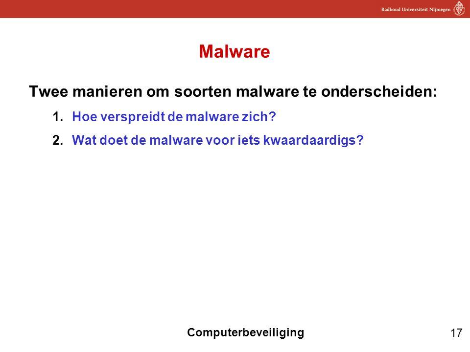 17 Computerbeveiliging Malware Twee manieren om soorten malware te onderscheiden: 1.Hoe verspreidt de malware zich? 2.Wat doet de malware voor iets kw