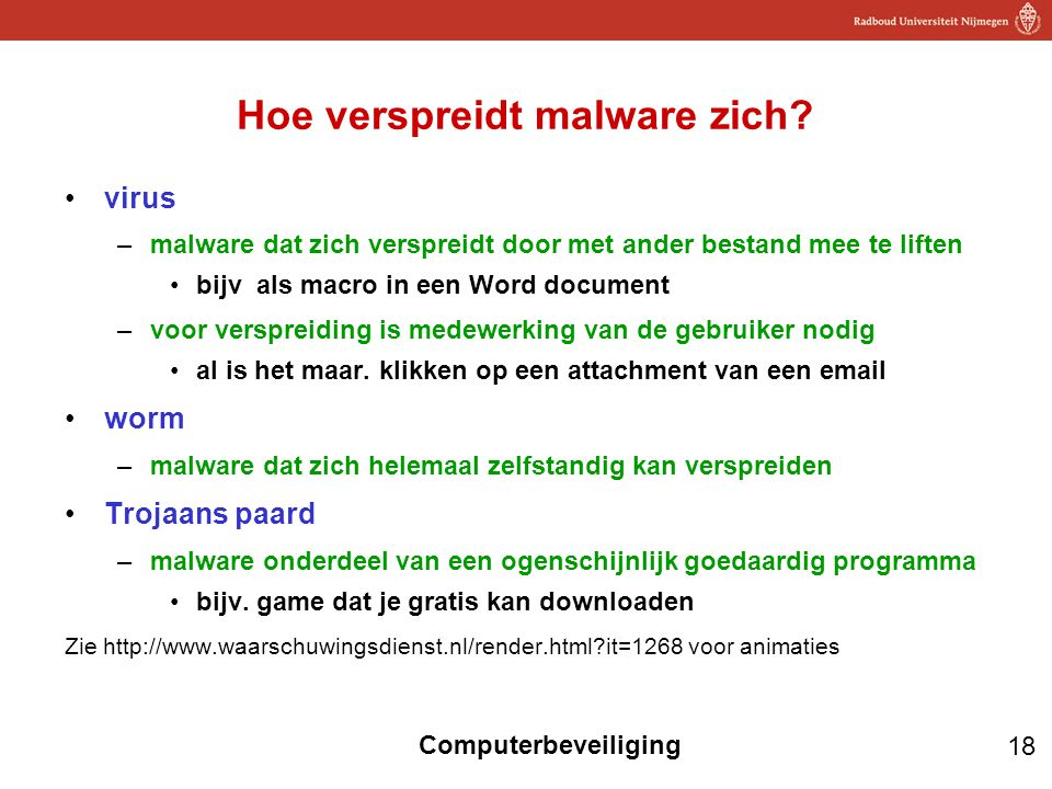 18 Computerbeveiliging Hoe verspreidt malware zich? virus –malware dat zich verspreidt door met ander bestand mee te liften bijv als macro in een Word