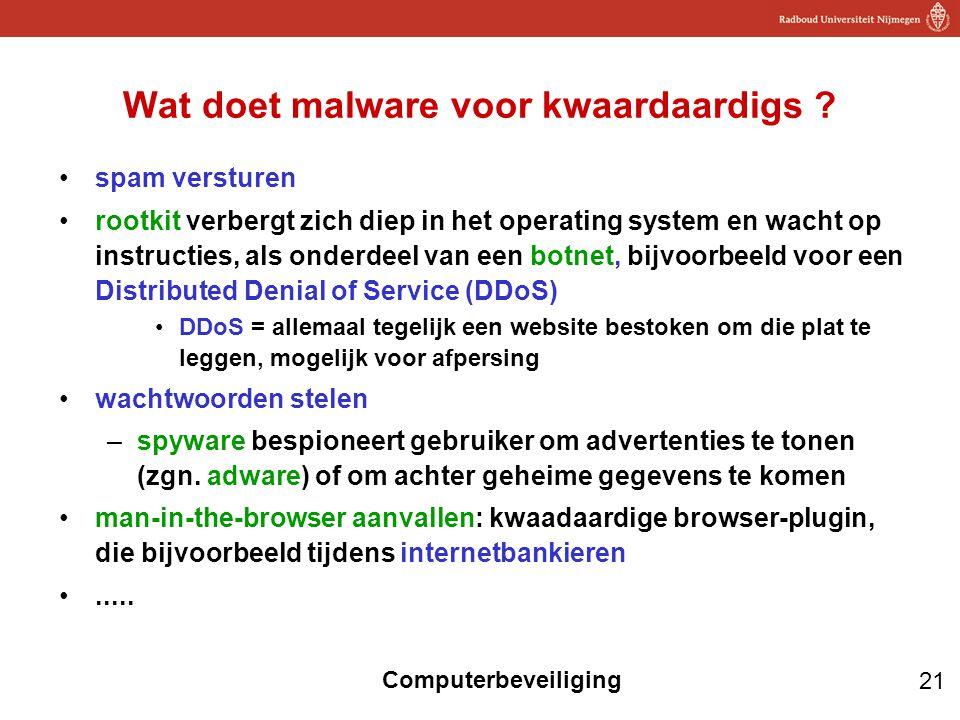 21 Computerbeveiliging Wat doet malware voor kwaardaardigs ? spam versturen rootkit verbergt zich diep in het operating system en wacht op instructies
