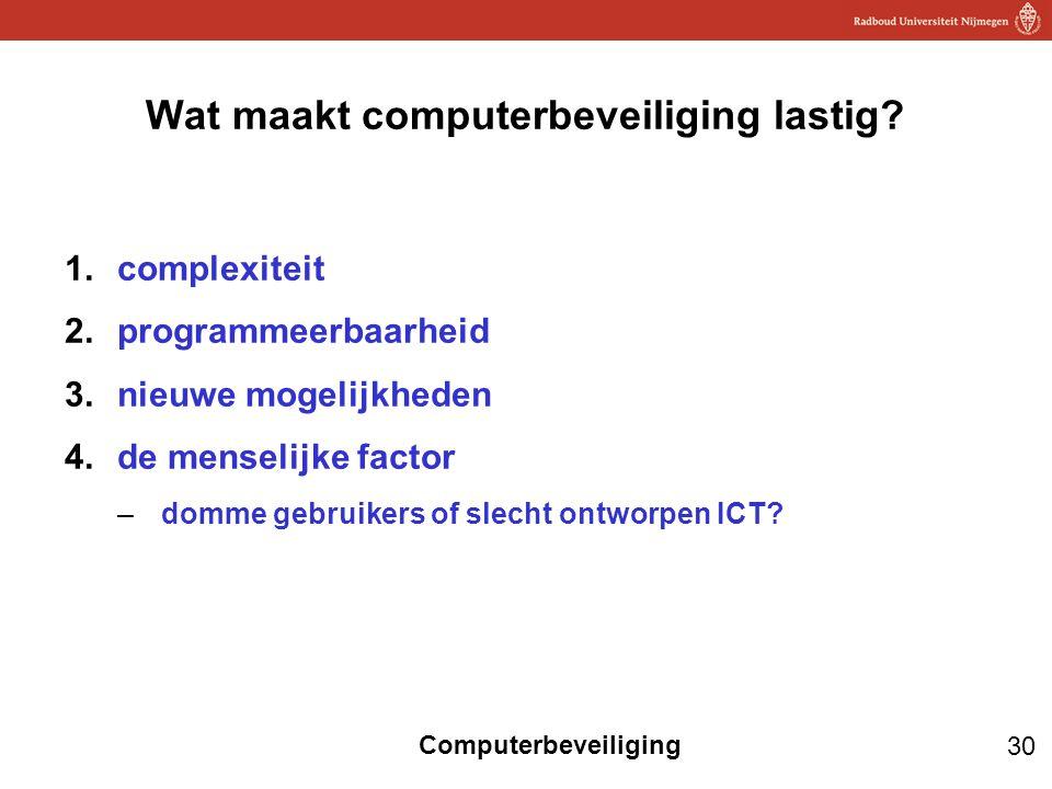 30 Computerbeveiliging Wat maakt computerbeveiliging lastig? 1.complexiteit 2.programmeerbaarheid 3.nieuwe mogelijkheden 4.de menselijke factor –domme