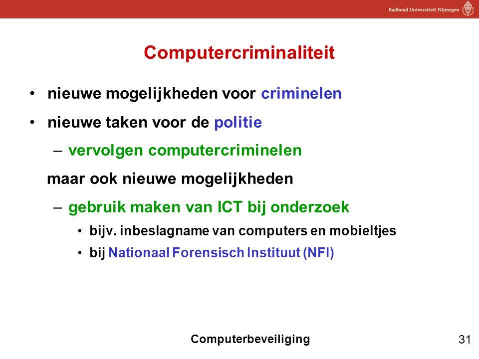 31 Computerbeveiliging Computercriminaliteit nieuwe mogelijkheden voor criminelen nieuwe taken voor de politie –vervolgen computercriminelen maar ook