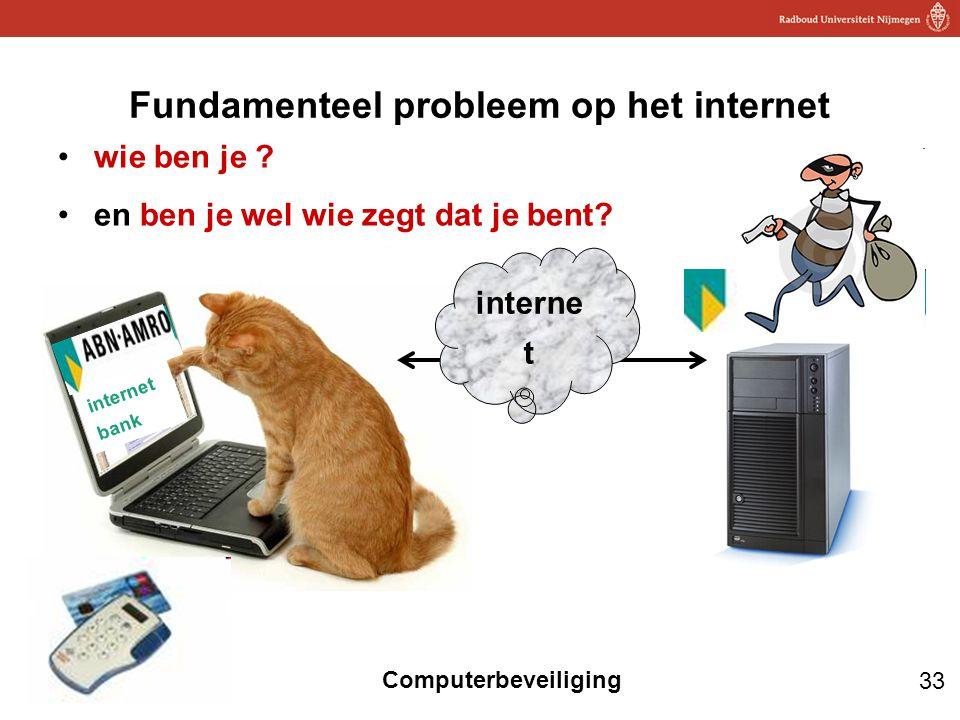 33 Computerbeveiliging Fundamenteel probleem op het internet wie ben je ? en ben je wel wie zegt dat je bent? internet bank interne t