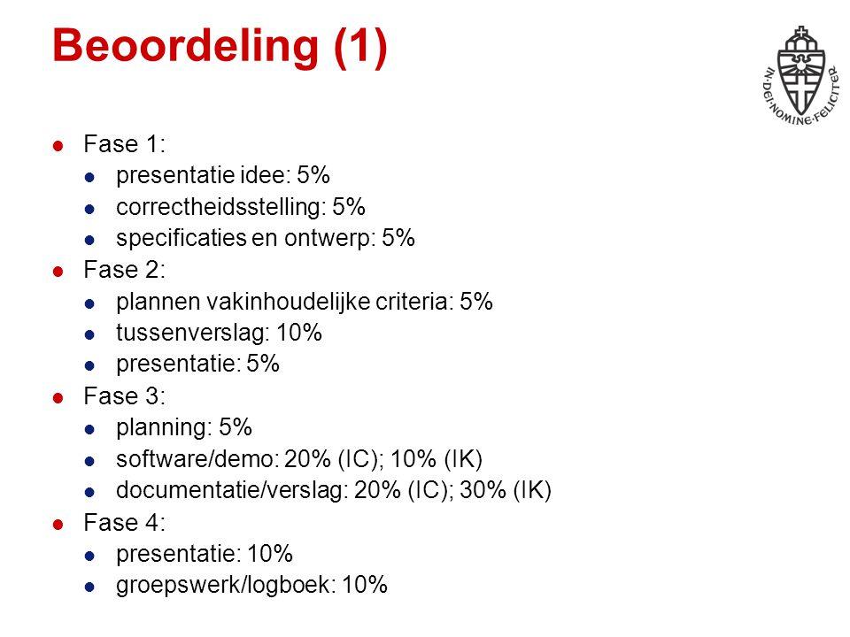 Beoordeling (1) Fase 1: presentatie idee: 5% correctheidsstelling: 5% specificaties en ontwerp: 5% Fase 2: plannen vakinhoudelijke criteria: 5% tussen
