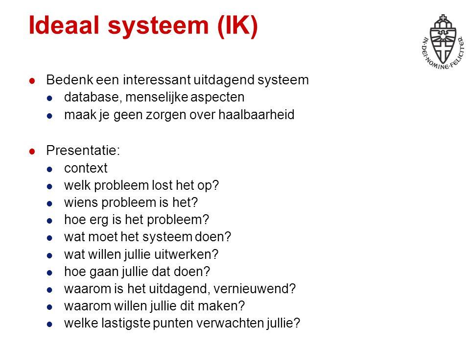 Ideaal systeem (IK) Bedenk een interessant uitdagend systeem database, menselijke aspecten maak je geen zorgen over haalbaarheid Presentatie: context