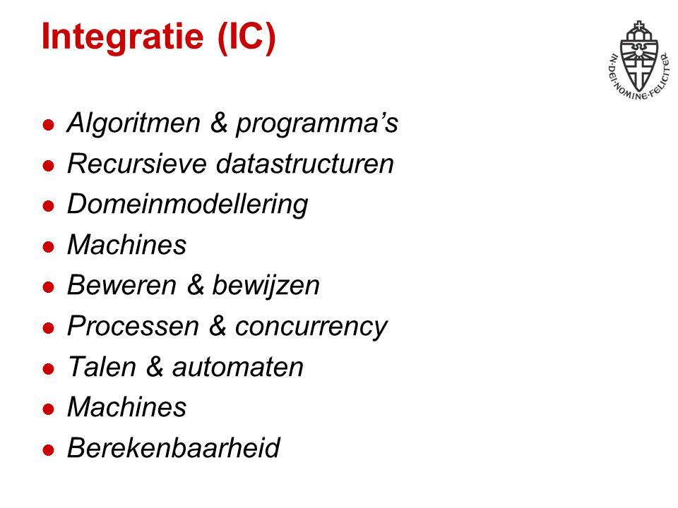 Integratie (IC) Algoritmen & programma's Recursieve datastructuren Domeinmodellering Machines Beweren & bewijzen Processen & concurrency Talen & autom