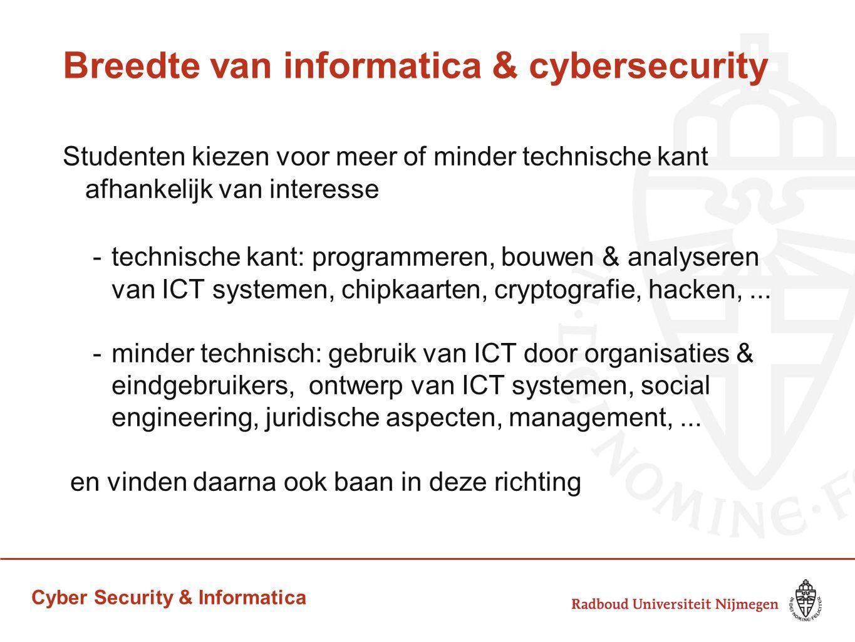 Cyber Security & Informatica Breedte van informatica & cybersecurity Studenten kiezen voor meer of minder technische kant afhankelijk van interesse -t