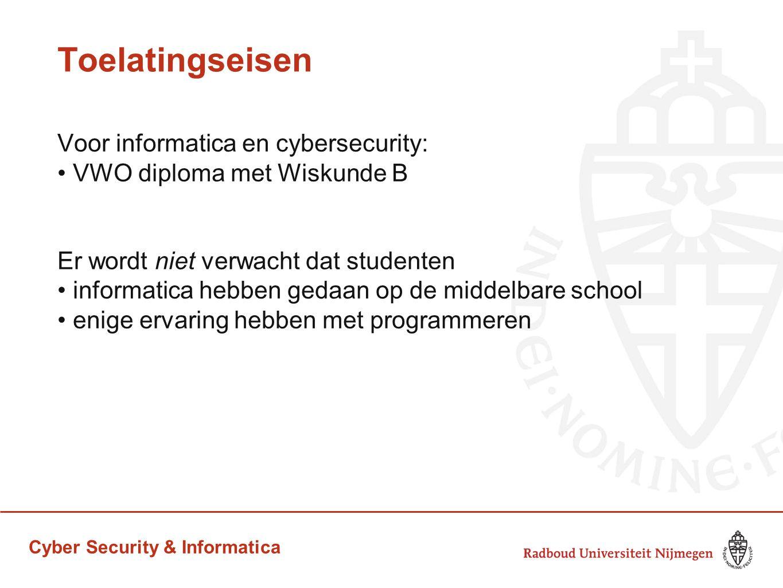 Cyber Security & Informatica Toelatingseisen Voor informatica en cybersecurity: VWO diploma met Wiskunde B Er wordt niet verwacht dat studenten inform