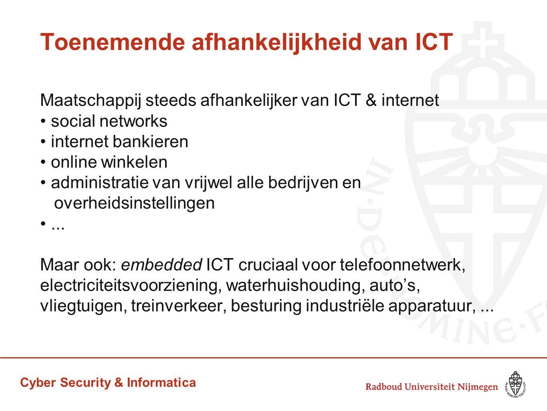 Cyber Security & Informatica Toenemende afhankelijkheid van ICT Maatschappij steeds afhankelijker van ICT & internet social networks internet bankiere