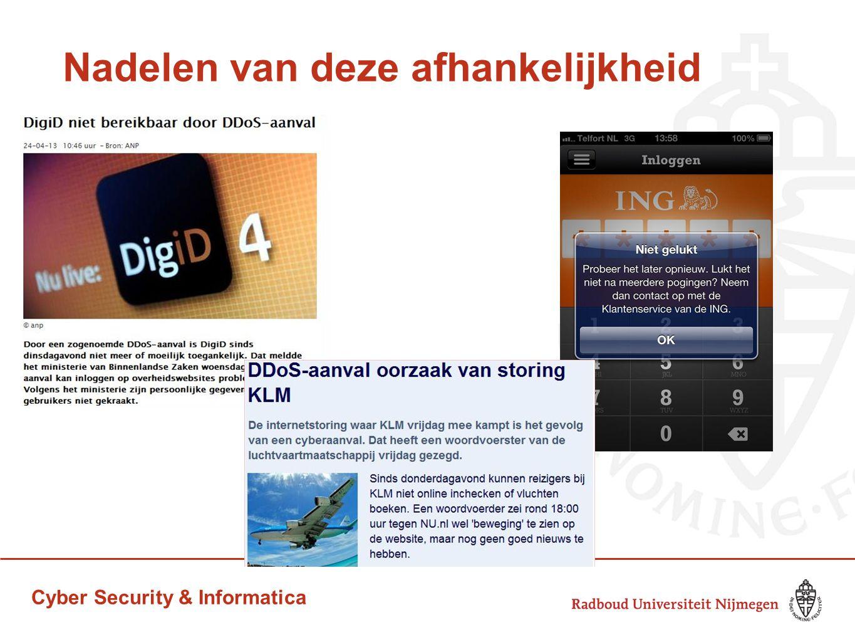 Cyber Security & Informatica Nadelen van deze afhankelijkheid