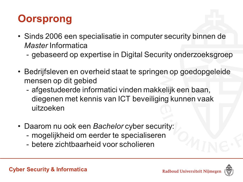 Cyber Security & Informatica Opzet curricula Cybersecurity & Informatica eerste semester is gemeenschappelijk -hierin wel al een vak Security daarna keuze voor informatica of cybersecurity -deels overlappend curriculum, met zo'n 25% vakken specifiek over cybersecurity