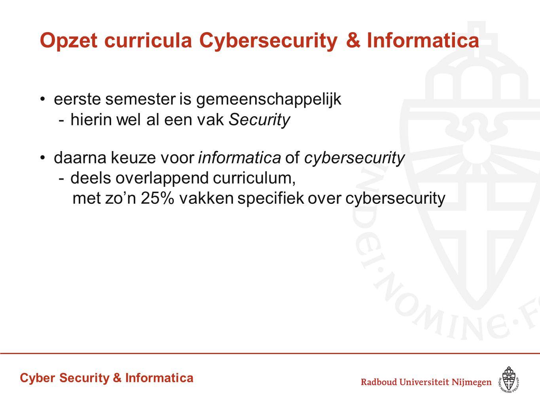 Cyber Security & Informatica Opzet curricula Cybersecurity & Informatica eerste semester is gemeenschappelijk -hierin wel al een vak Security daarna k