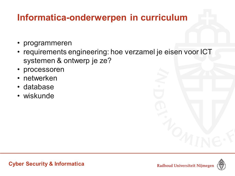 Cyber Security & Informatica Onderwerpen in cybersecurity curriculum (verantwoord) hacken: de enige manier om te kijken of een systeem veilig is, is door te proberen de beveiliging te breken web security veilig programmeren cryptografie juridische aspecten van computerbeveiliging beleids aspecten van computerbeveiliging privacy