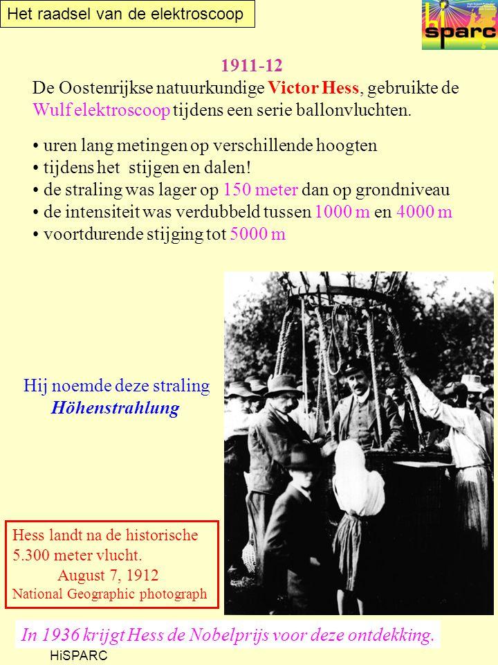 Het raadsel van de elektroscoop HiSPARC 1911-12 De Oostenrijkse natuurkundige Victor Hess, gebruikte de Wulf elektroscoop tijdens een serie ballonvluc