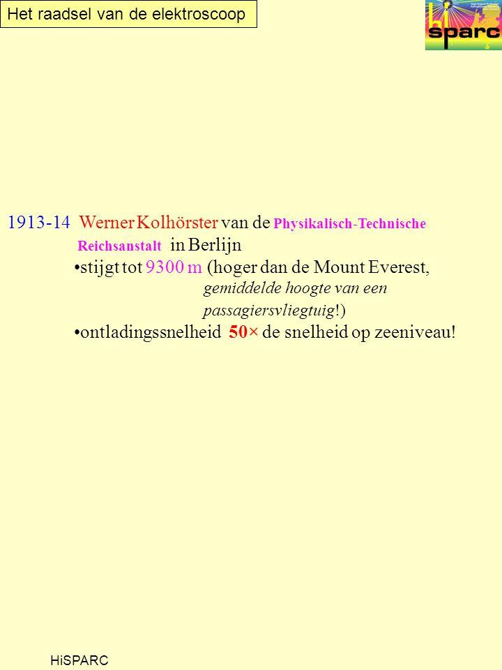 Het raadsel van de elektroscoop HiSPARC 1913-14 Werner Kolhörster van de Physikalisch-Technische Reichsanstalt in Berlijn stijgt tot 9300 m (hoger dan de Mount Everest, gemiddelde hoogte van een passagiersvliegtuig!) ontladingssnelheid 50× de snelheid op zeeniveau!