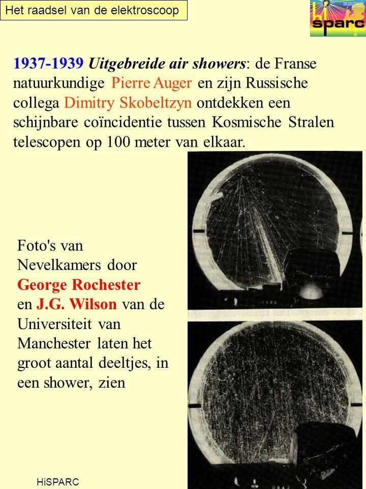 Het raadsel van de elektroscoop HiSPARC 1937-1939 Uitgebreide air showers: de Franse natuurkundige Pierre Auger en zijn Russische collega Dimitry Skobeltzyn ontdekken een schijnbare coïncidentie tussen Kosmische Stralen telescopen op 100 meter van elkaar.