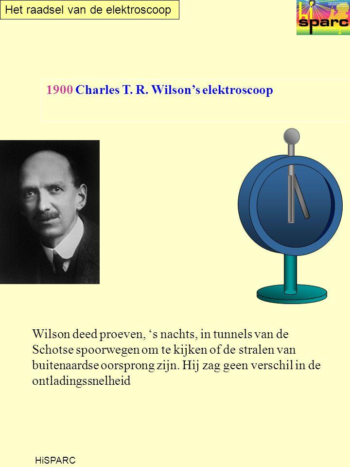 Het raadsel van de elektroscoop HiSPARC 1900 Charles T. R. Wilson's elektroscoop Wilson deed proeven, 's nachts, in tunnels van de Schotse spoorwegen