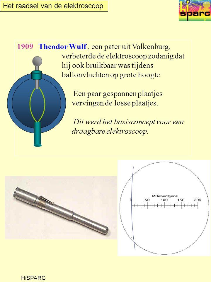 Het raadsel van de elektroscoop HiSPARC 1909 Theodor Wulf, een pater uit Valkenburg, verbeterde de elektroscoop zodanig dat hij ook bruikbaar was tijdens ballonvluchten op grote hoogte Een paar gespannen plaatjes vervingen de losse plaatjes.