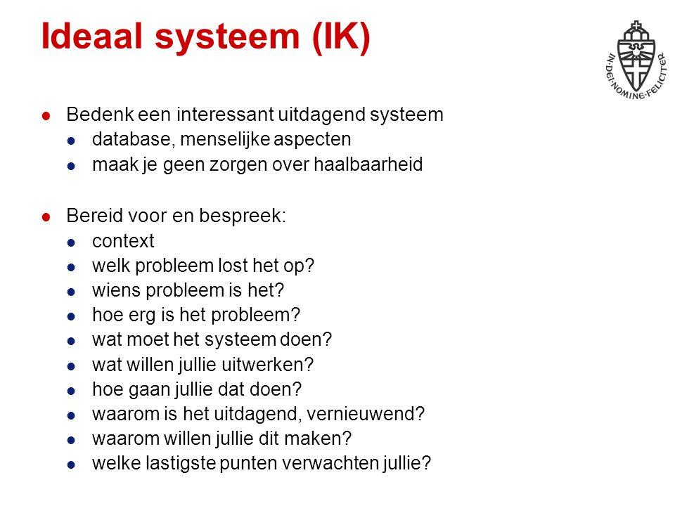 Ideaal systeem (IK) Bedenk een interessant uitdagend systeem database, menselijke aspecten maak je geen zorgen over haalbaarheid Bereid voor en bespreek: context welk probleem lost het op.