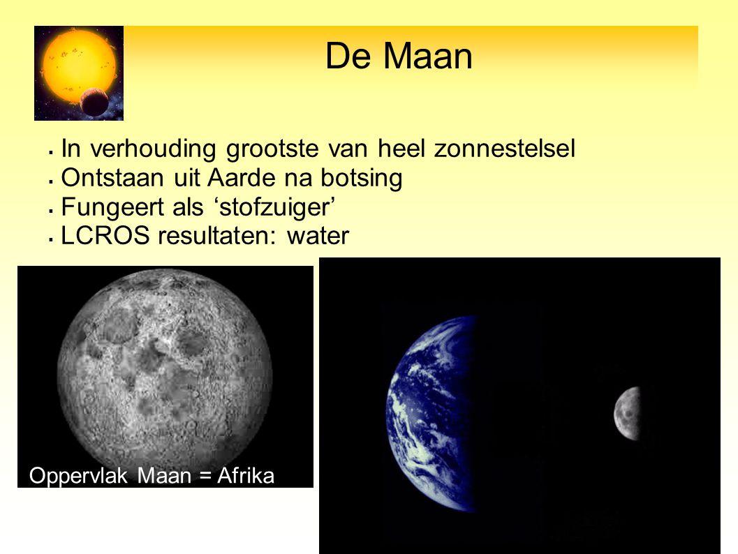 De Maan  In verhouding grootste van heel zonnestelsel  Ontstaan uit Aarde na botsing  Fungeert als 'stofzuiger'  LCROS resultaten: water Oppervlak