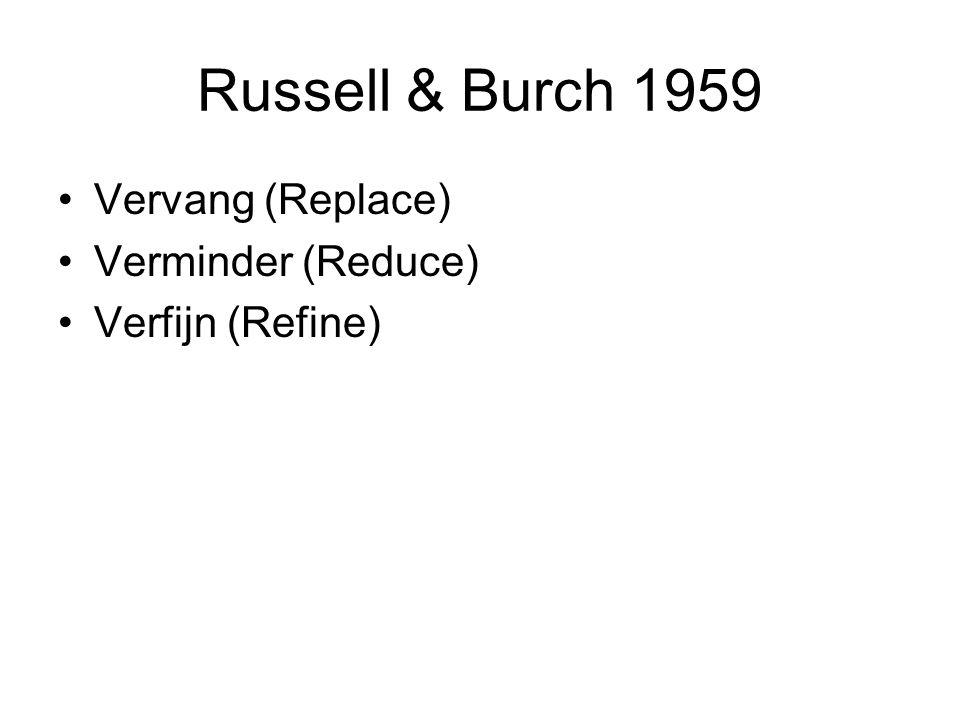Russell & Burch 1959 Vervang (Replace) Verminder (Reduce) Verfijn (Refine)