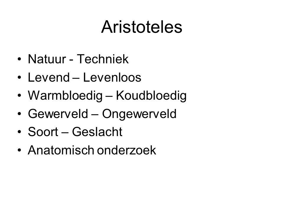 Aristoteles Natuur - Techniek Levend – Levenloos Warmbloedig – Koudbloedig Gewerveld – Ongewerveld Soort – Geslacht Anatomisch onderzoek