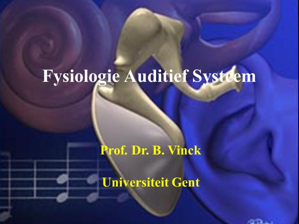 Fysiologie Auditief Systeem Prof. Dr. B. Vinck Universiteit Gent
