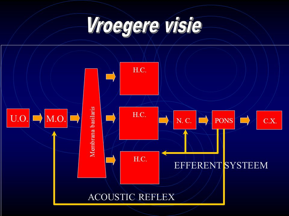 M.O. H.C. U.O. H.C. PONS Cortex N. C. C.X. Membrana basilaris ACOUSTIC REFLEX EFFERENT SYSTEEM