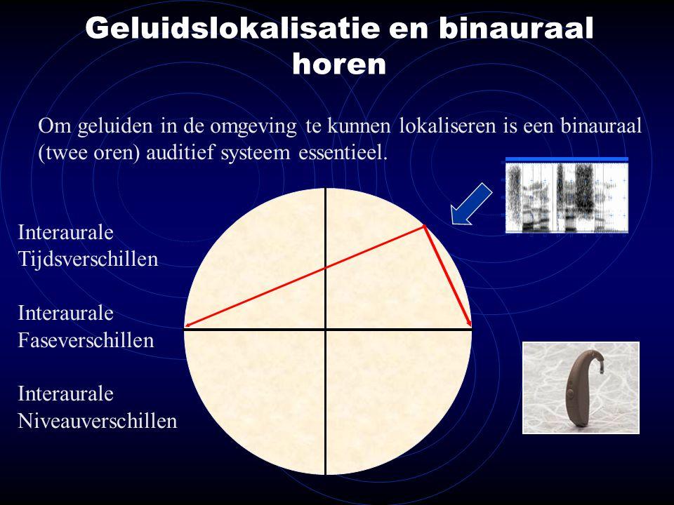 Geluidslokalisatie en binauraal horen Om geluiden in de omgeving te kunnen lokaliseren is een binauraal (twee oren) auditief systeem essentieel.