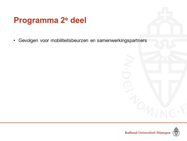 Programma 2 e deel Gevolgen voor mobiliteitsbeurzen en samenwerkingspartners